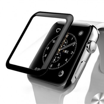 Apple Watch Series 3 - 42mm Space Gray Aluminium Case with Black Sport with 3D Curved Premium Tempered Glass Screen Protector