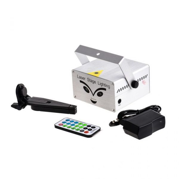 Mini Laser Stage Lighting Firework Projector Remote Control Silver
