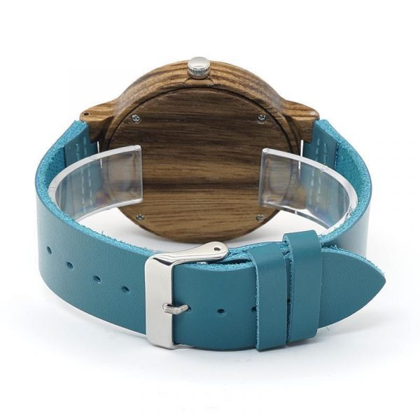 Blue Leather Band Wood Watch His and Hers in Gift Box