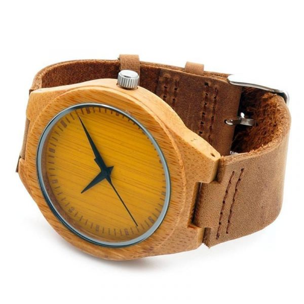 BOBO BIRD Colourful Natural Bamboo Wood Watch With Leather Strap In Gift Box