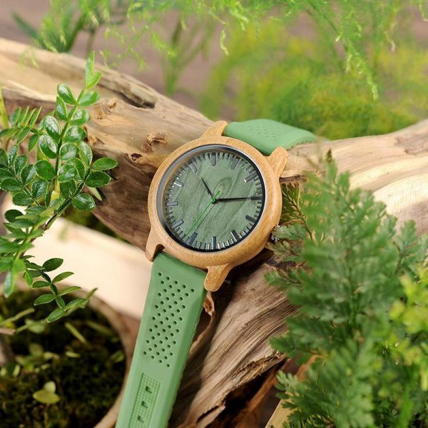 Bamboo Wood Watch with Soft Green Silicone Strap in Gift Box