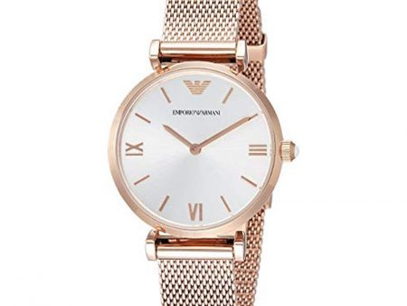 New Emporio Armani AR1956 Retro Silver Dial Rose Gold Analog 32mm Ladies Watch