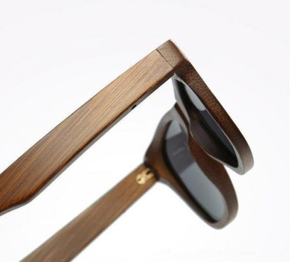 Real Wood Sunglasses Polarized UV400, Dark Brown with Pin Detail with Bamboo Case, Model: 028