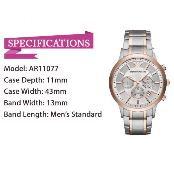 Brand New Emporio Armani AR11077 Dress Rose Gold Silver Dial Analog Men's Watch