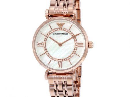 Brand New Emporio Armani AR1909 Gianni T-Bar Crystal Rose Tone Women Watch