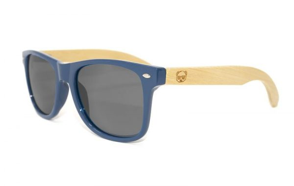 Bamboo & PC Dark Blue Wayfarer Sunglasses, with UV400 protection and Bamboo Case Model 047