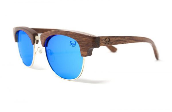 Polarised Wood Sunglasses Layered Half Wooden Frame Square Style with Bamboo box, Model: 041